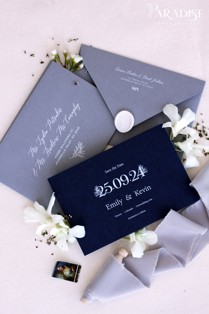 Eliana Navy Save the Date Cards