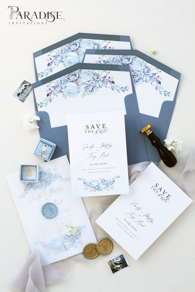 Flora Dusty Blue Save the Date
