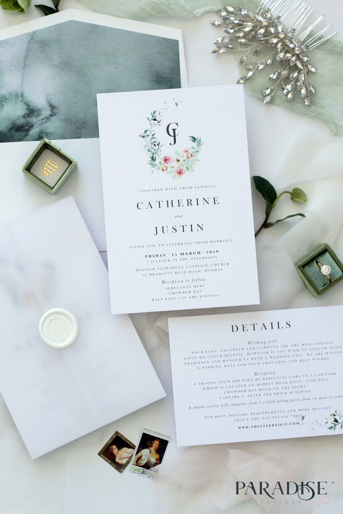 Catherine Watercolor Floral Wedding Invitation