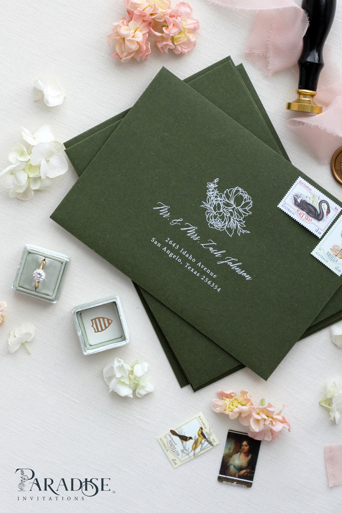 Forest Green Envelopes With White Ink Printing