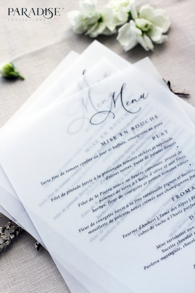 Adelie Vellum Wedding Menu