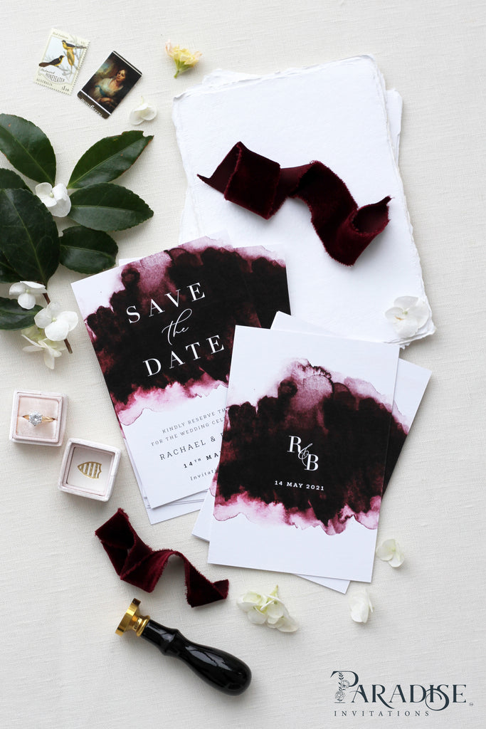 Dorianne Burgundy Save the Date Cards
