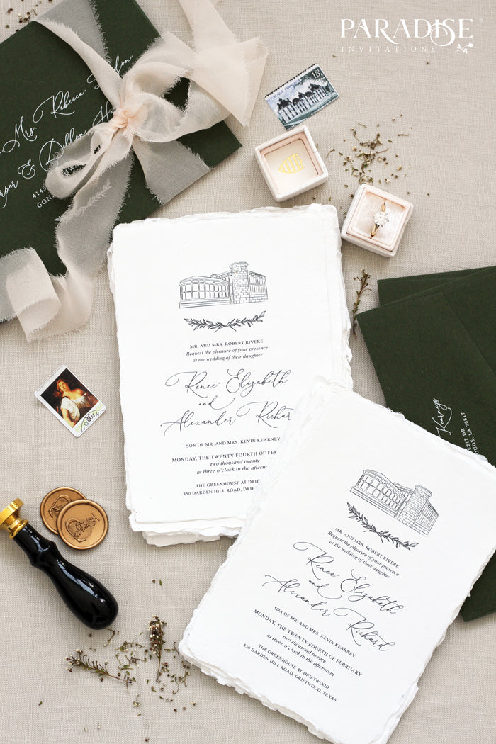 Alisanne Handmade Paper Wedding Invitation