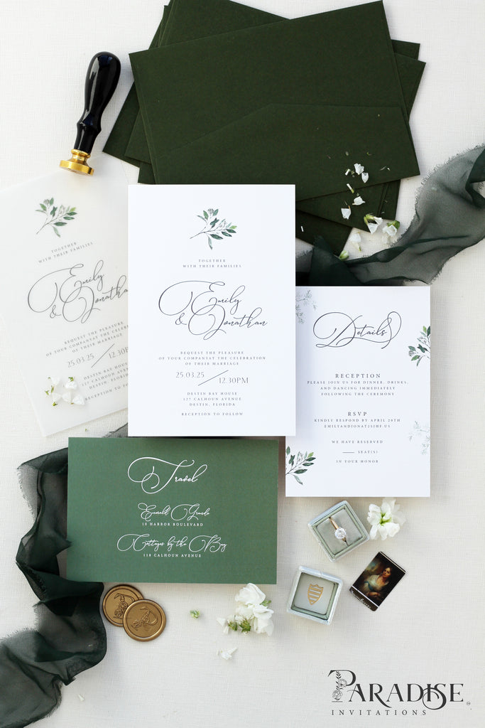Geneve Forest Green Wedding Invitation Sets