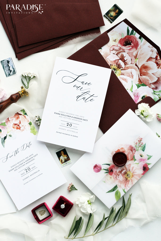 Jade Burgundy Floral Save the Date