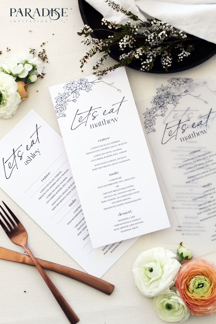 Natalee Vellum Wedding Menus