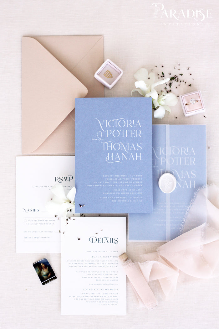 Natalia Dusky Blue Wedding Invitation Sets