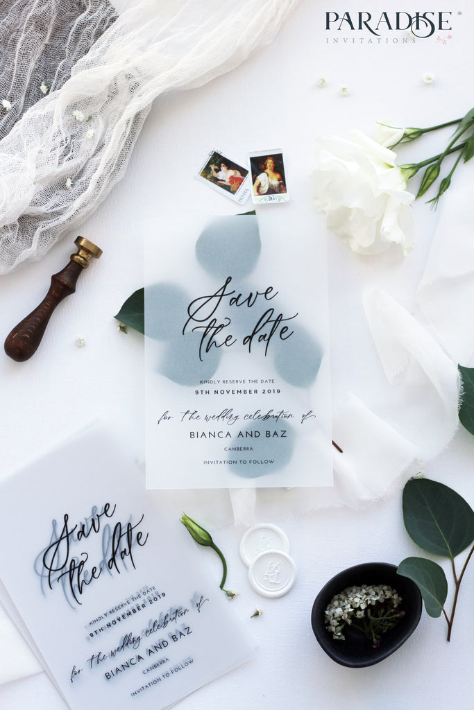 Lilah Modern Vellum Save the Date