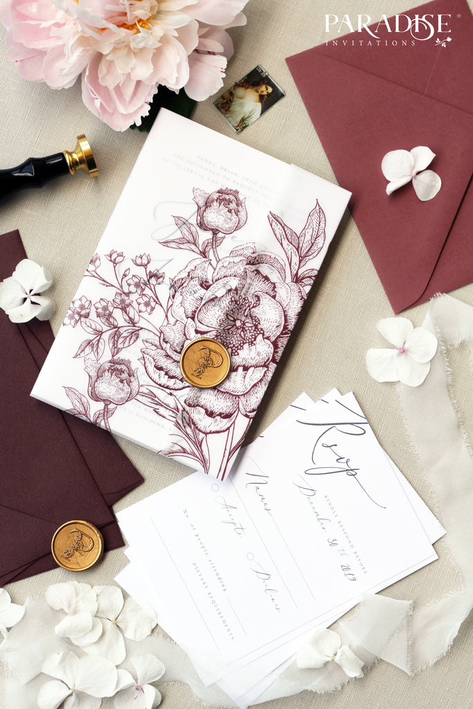 Pascale Burgundy Floral Wedding Invitations