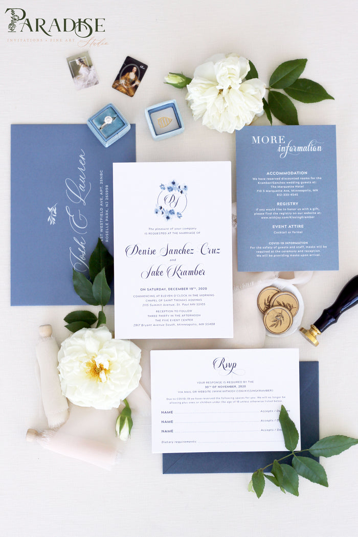 Addilyn Dusty Blue Wedding Invitations