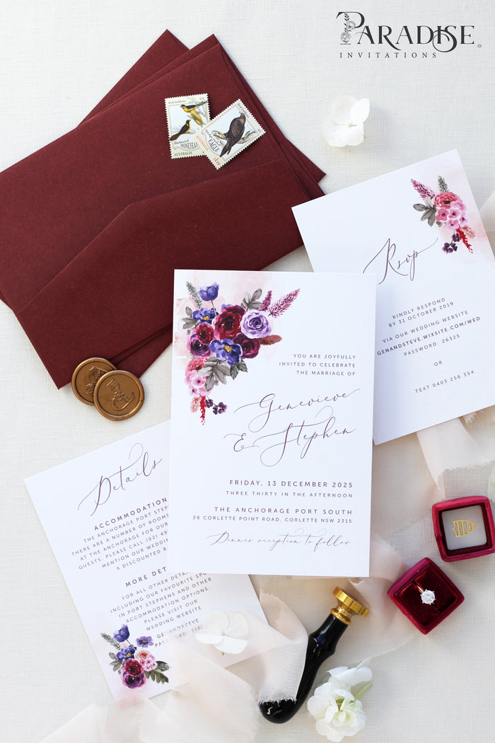 Chantel Burgundy Wedding Invitation Sets