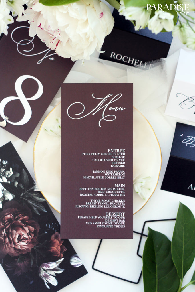 Elvia Burgundy Wedding Menu