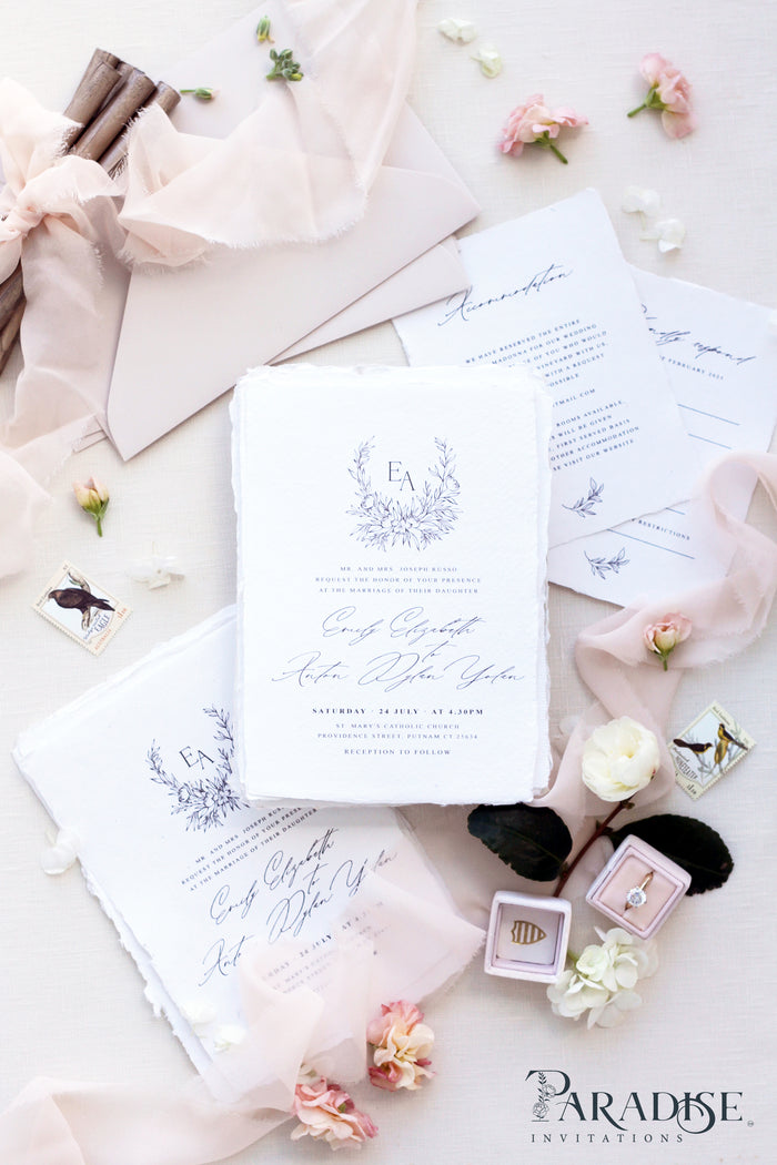 Adelle Handmade Paper Wedding Invitation Sets