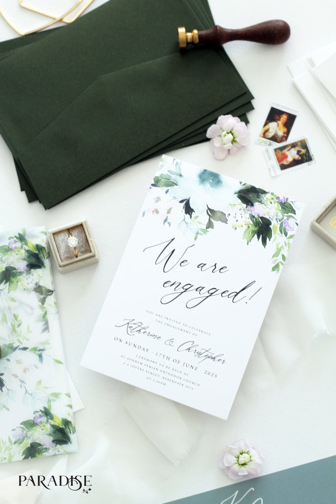Copy of Guilemette White Floral Engagement Invitation