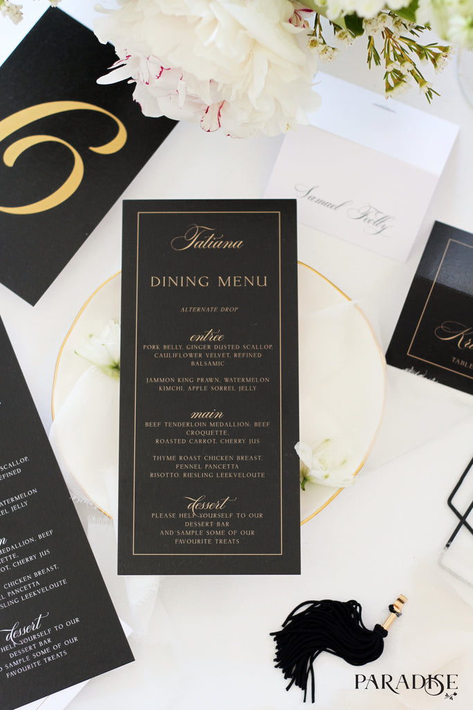 Capucine Elegant Black Wedding Menu