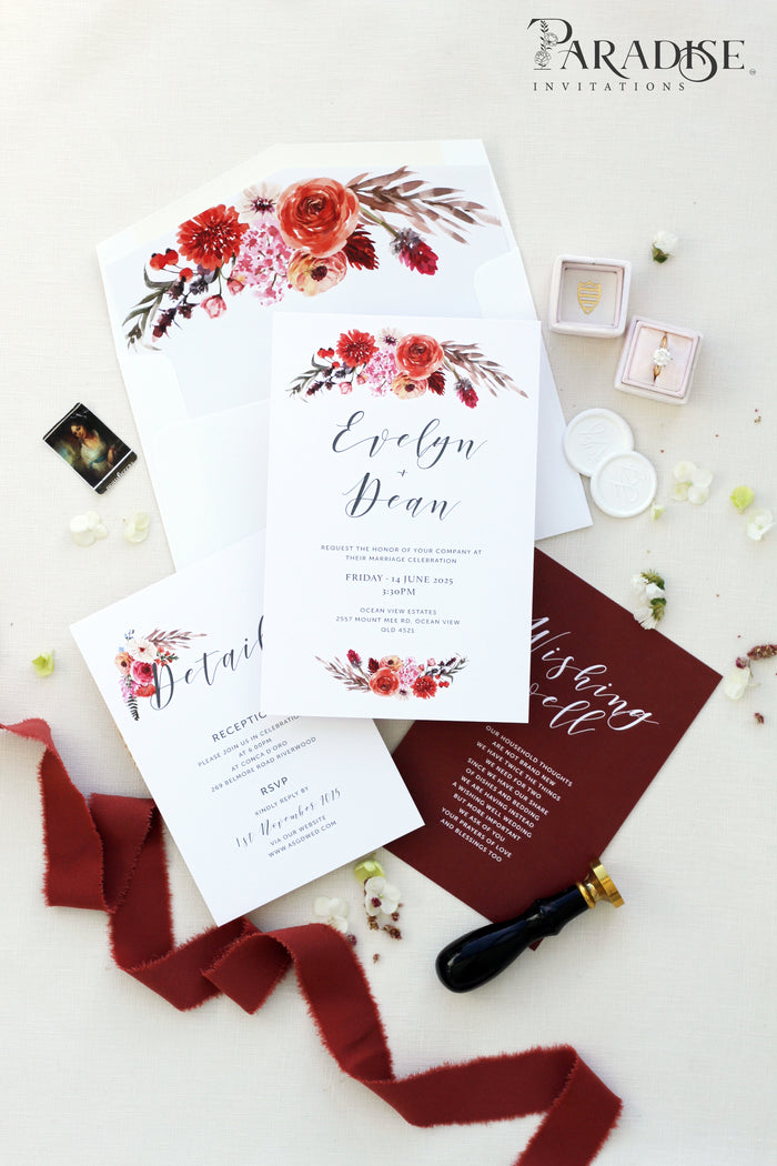 Pascala Floral Burgundy Wedding Invitation Sets