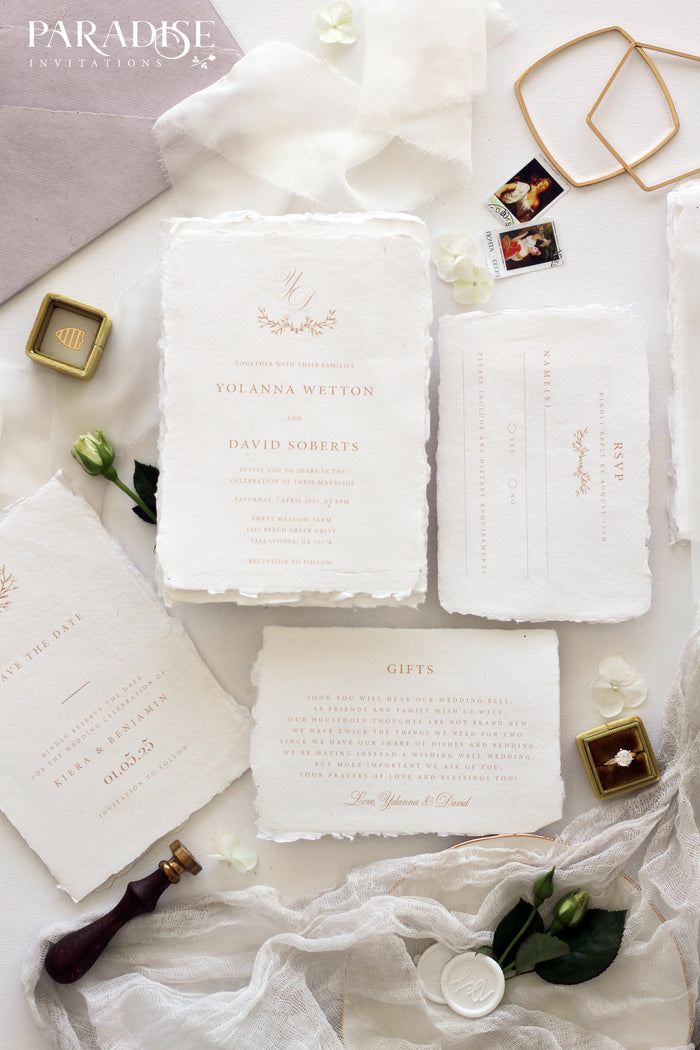 Jannine Handmade Paper Wedding Invitation
