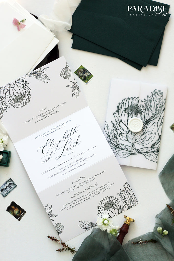Fabiola Hand Drawn Floral Wedding Invitation