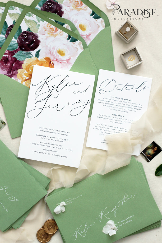 Adreanna Calligraphy Wedding Invitation