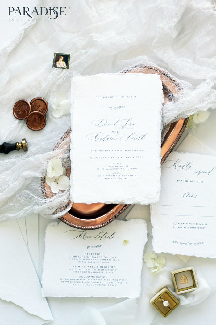 Aelicia Handmade Paper Wedding Invitation