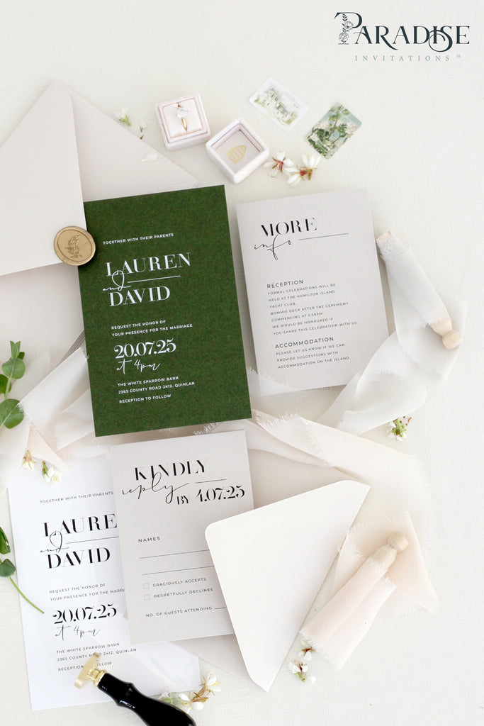 Ianthe Forest Green Wedding Invitation Sets