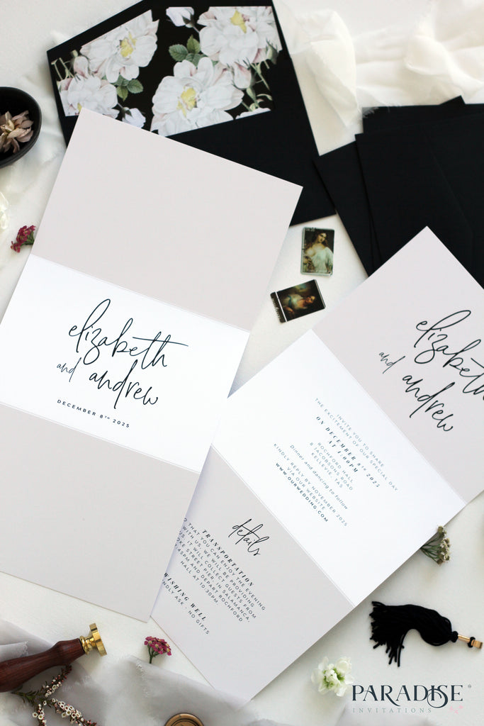 Fantine Elegant Calligraphy Wedding Invitation