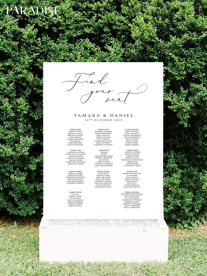 Modern Calligraphy Table Seating Chart