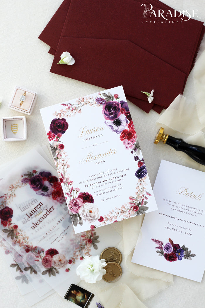 Leontina Burgundy Wedding Invitation Sets
