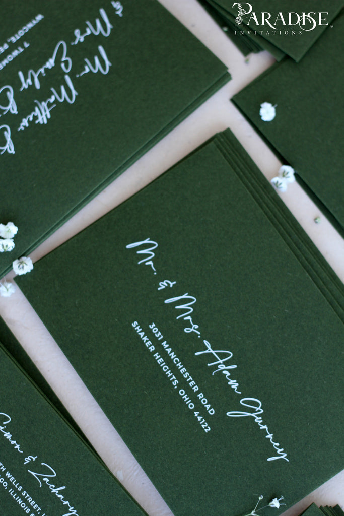 "White Ink Address Printing on Forest Green Envelopes, size 130x190 (fits 5""x7"" invitations)"