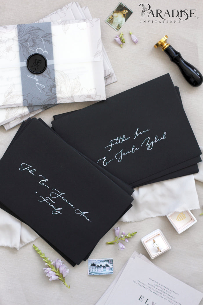 Black Envelopes White Ink Printing