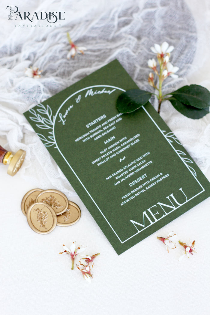 Arabella Forest Green Wedding Menus
