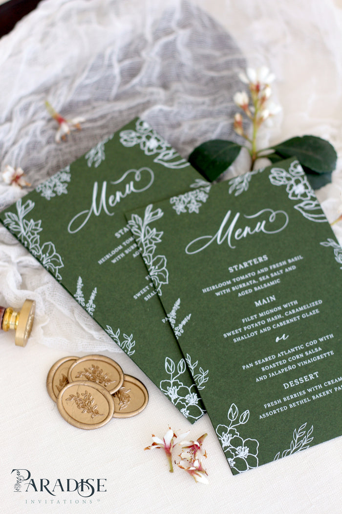 Georgiana Forest Green Wedding Menus