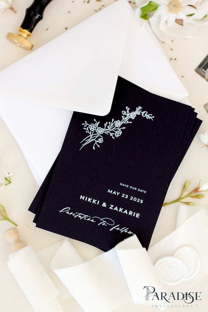 Evianna Black Paper Save the Date Cards