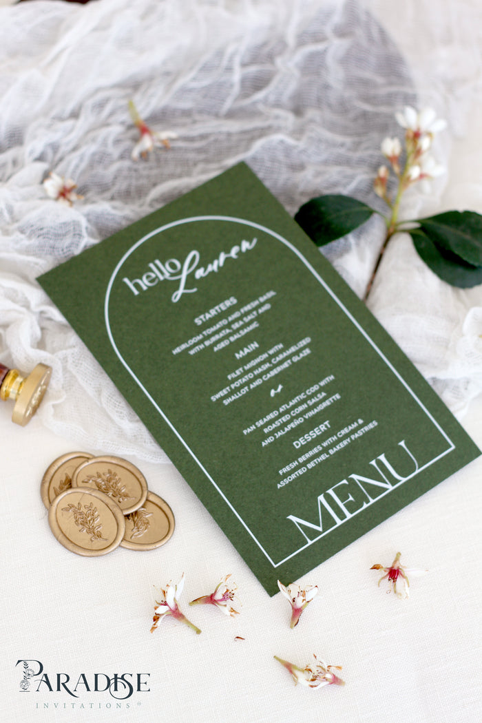 Evangeline Forest Green Wedding Menus