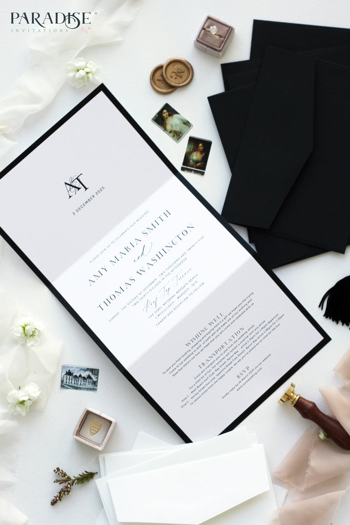 Iris Elegant Black Frame Wedding Invitation