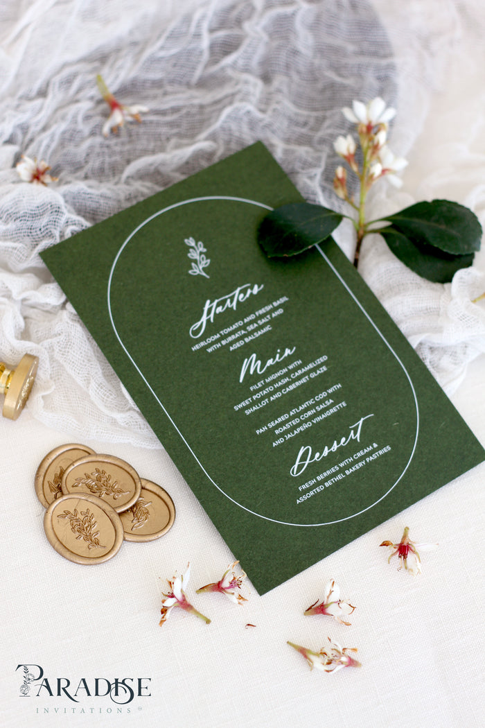 Sylvia Forest Green Wedding Menus