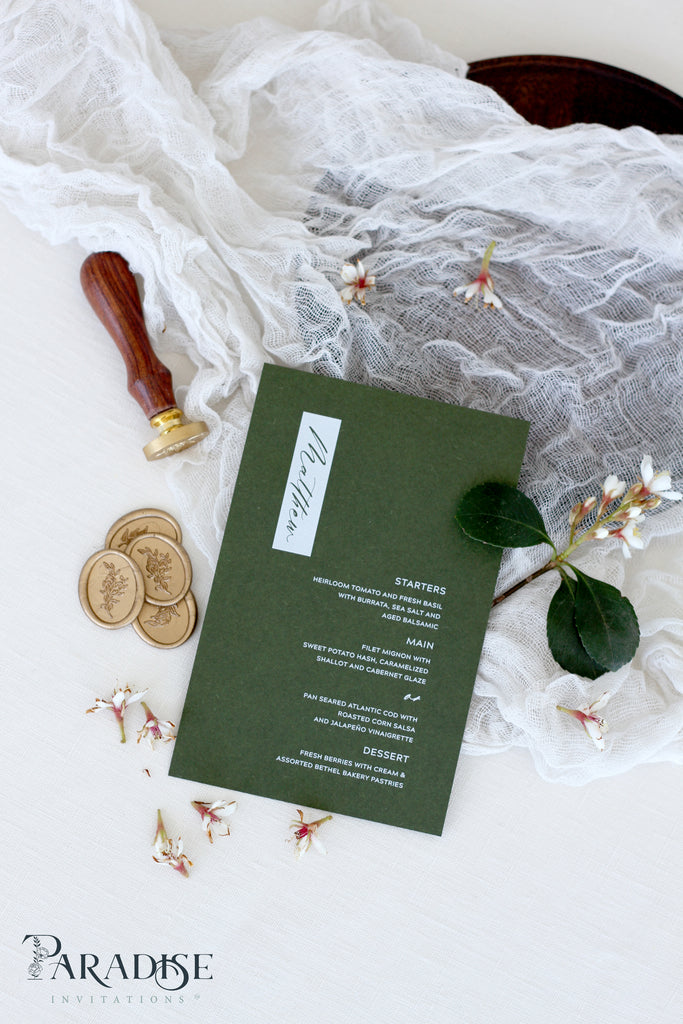 Althea Forest Green Wedding Menus