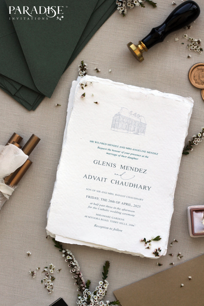 Alodie Handmade Paper Wedding Invitation