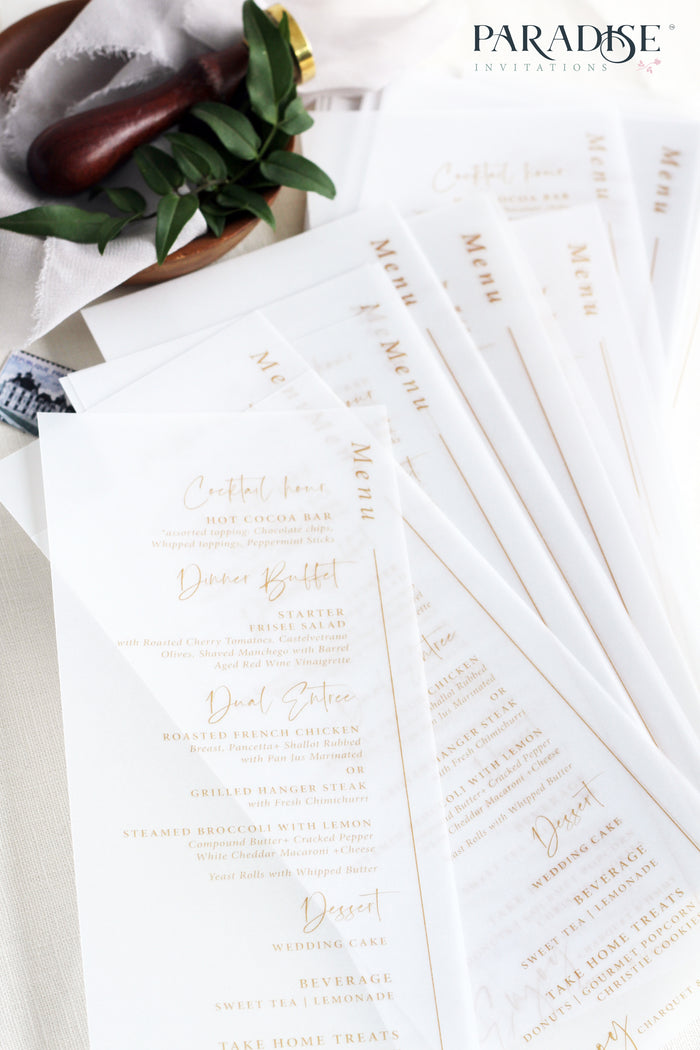 Albertine Elegant Vellum Wedding Menus