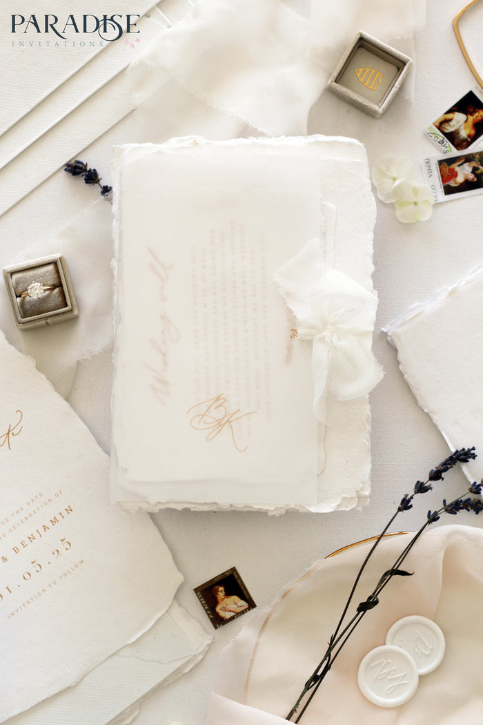 Laraine Handmade Paper Wedding Invitation