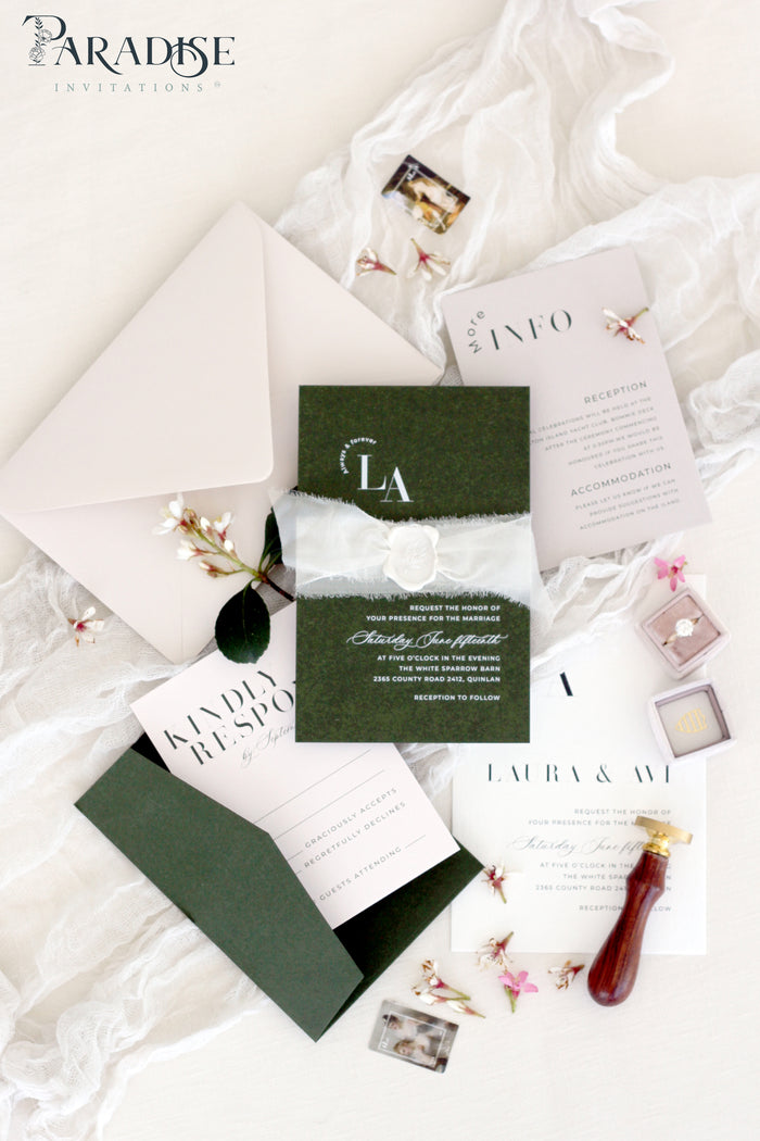 Ismena Forest Green Wedding Invitation Sets