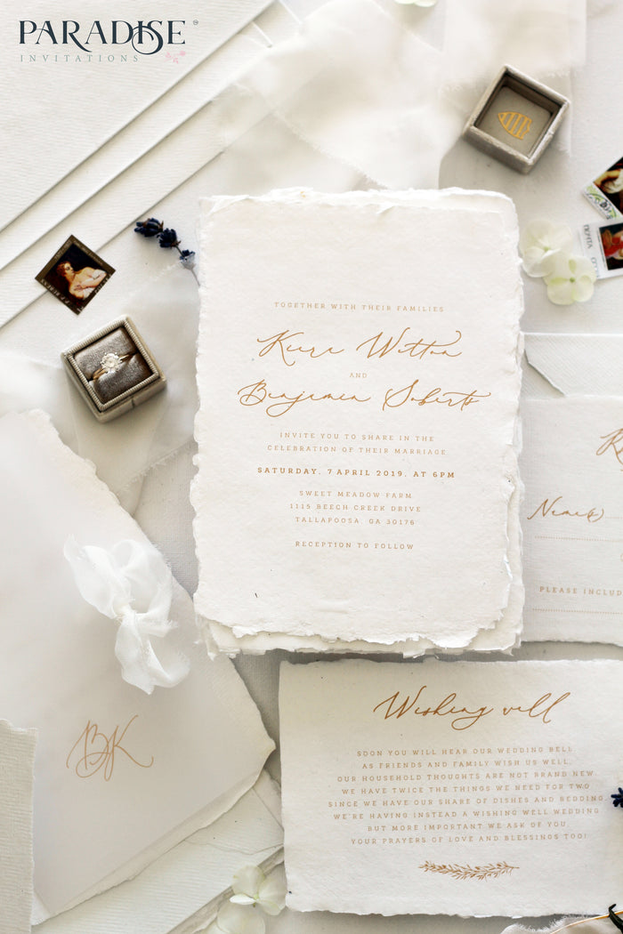 Laraine Handmade Paper Wedding Invitation Sets