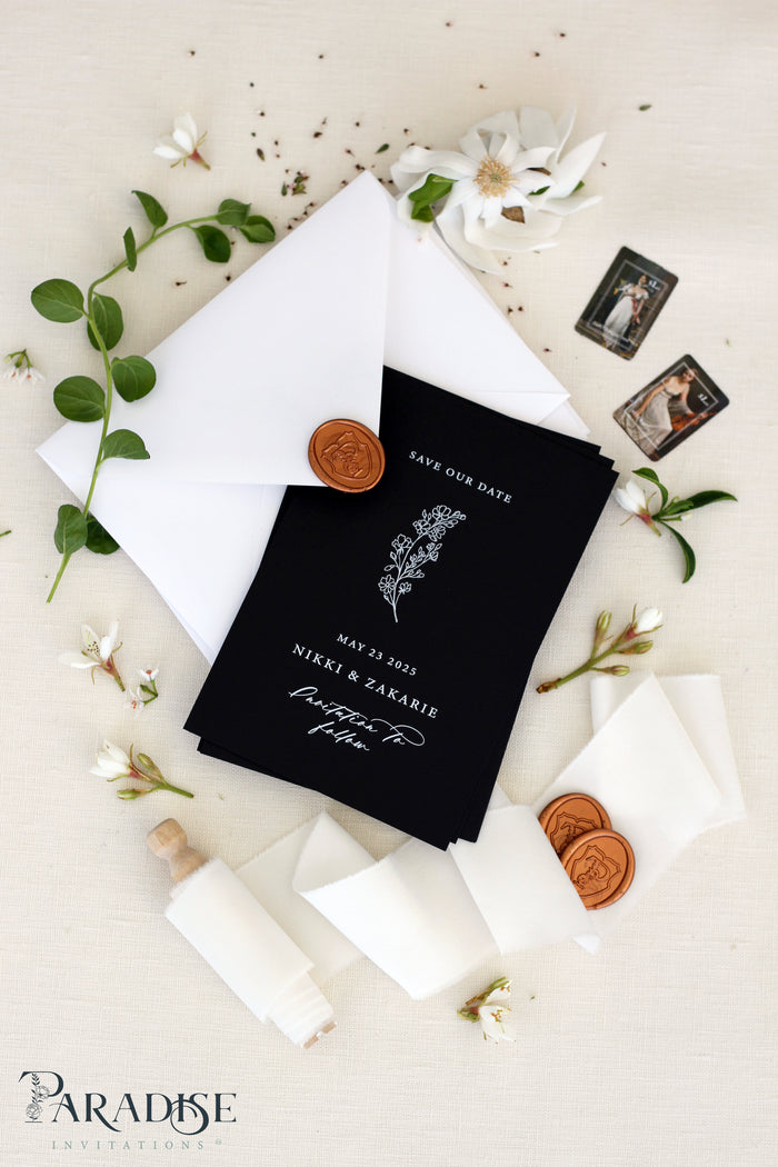 Florence Black Paper Save the Date Cards