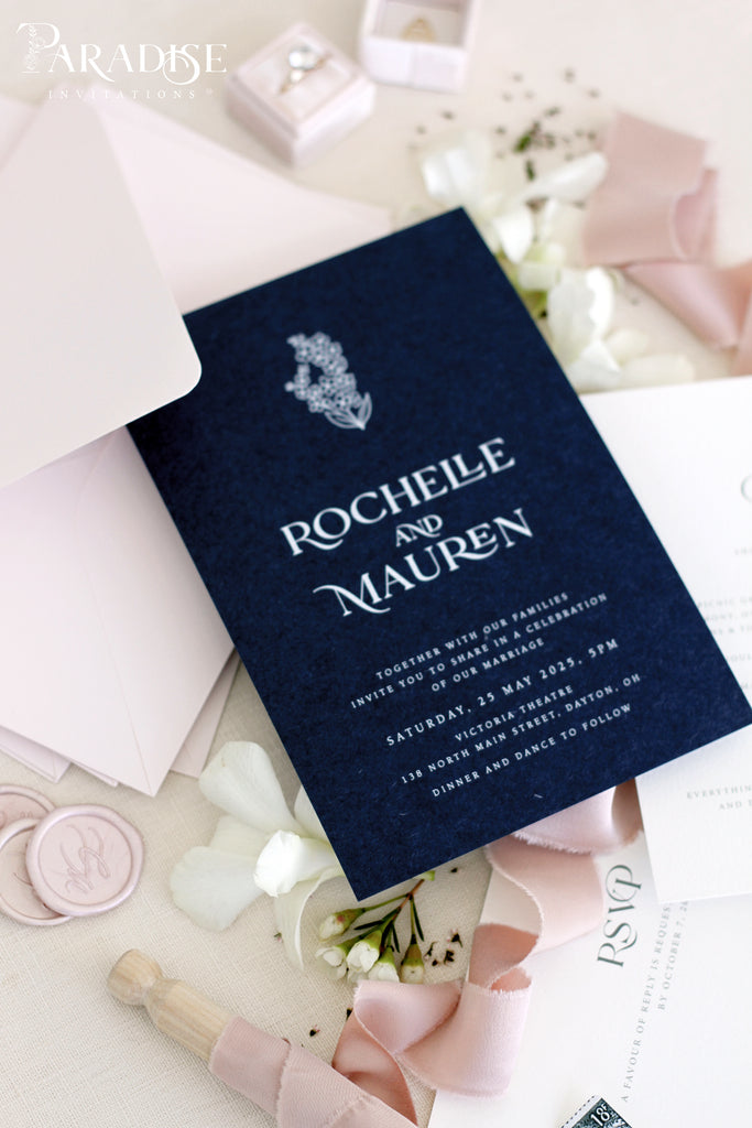 Melody Navy Wedding Invitation Sets