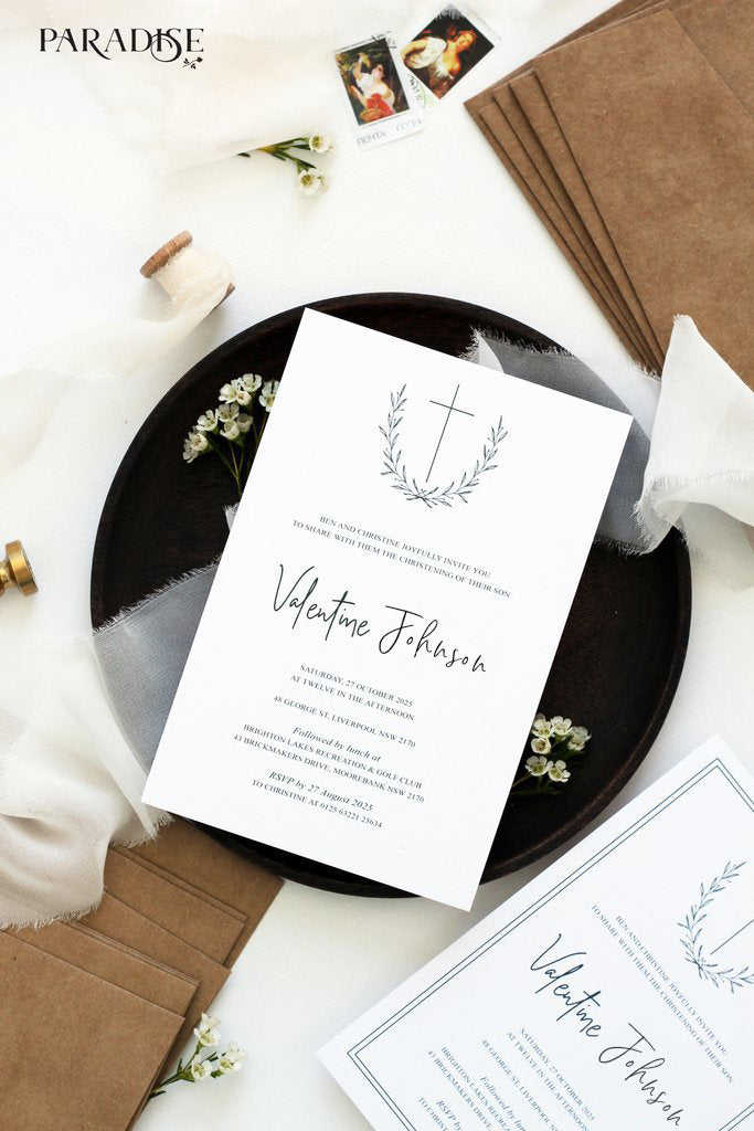 Rustic Modern Wreath Christian Invitation