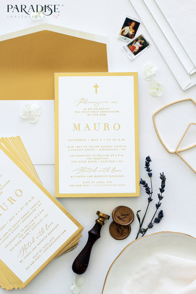 Elegant Golden Foil Christian Invitation