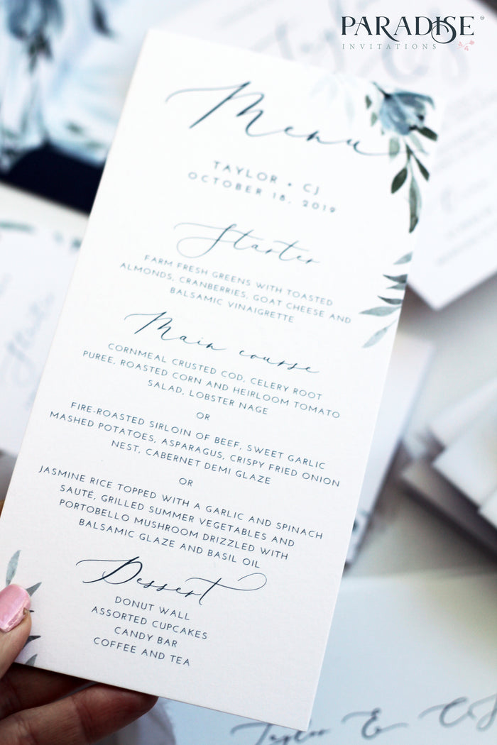 Lorelei Dusty Blue Floral Wedding Menu