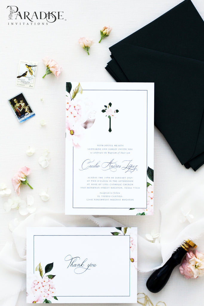 Liealia White Floral Christian Invitation
