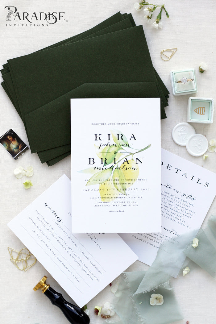 Romaine Watercolor Wedding Invitation Sets