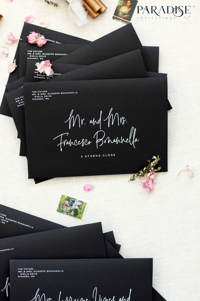 Calligraphy Address Printing on Black Envelopes